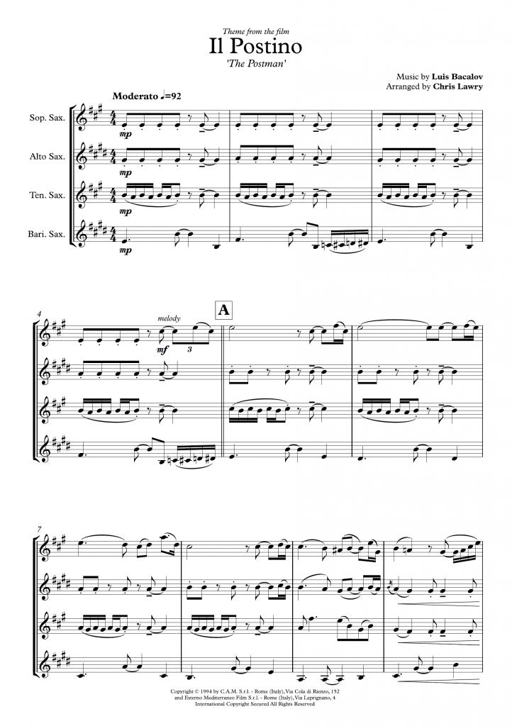 Chris Lawry - Il Postino - SATB Saxophone Quartet
